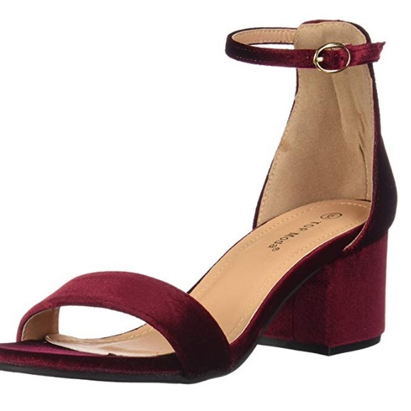 classic shoes new concept various colors Top Moda Burgundy Velvet Block Heels
